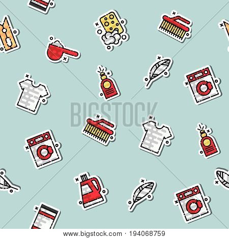 Laundry concept icons pattern with iron and reception symbols flat isolated vector illustration