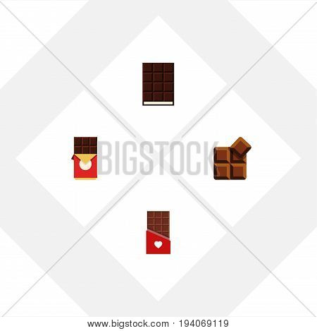 Flat Icon Bitter Set Of Cocoa, Dessert, Chocolate And Other Vector Objects. Also Includes Bitter, Wrapper, Cocoa Elements.