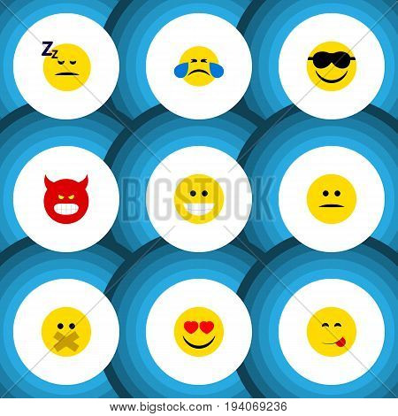 Flat Icon Gesture Set Of Cold Sweat, Love, Displeased And Other Vector Objects. Also Includes Angry, Grin, Asleep Elements.