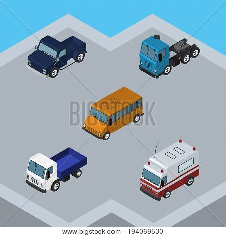 Isometric Automobile Set Of Lorry, Truck, Suv And Other Vector Objects. Also Includes Suv, Aid, Transport Elements.