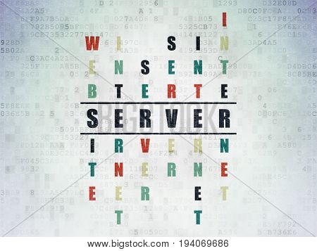 Web development concept: Painted black word Server in solving Crossword Puzzle on Digital Data Paper background