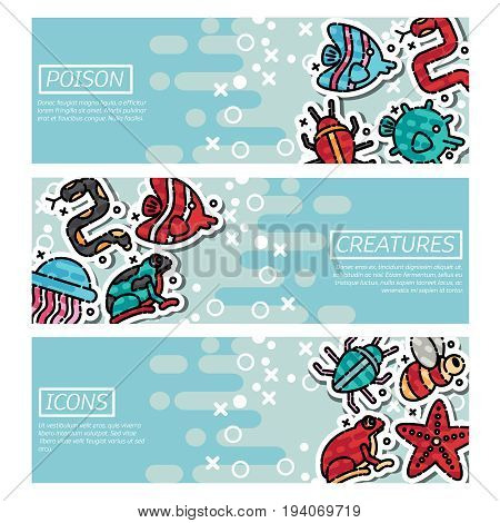 Set of Horizontal Banners about poison creatures. Vector illustration, EPS 10