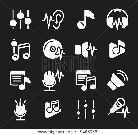 Vector sound waves set. Audio Player. Audio equalizer technology, pulse musical. Vector illustration. Icon set.