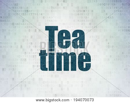 Timeline concept: Painted blue word Tea Time on Digital Data Paper background