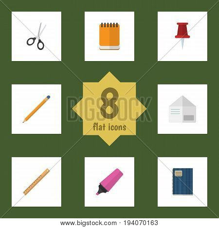 Flat Icon Stationery Set Of Drawing Tool, Straightedge, Pushpin And Other Vector Objects. Also Includes Ruler, Cutting, Clippers Elements.