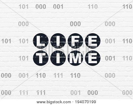 Time concept: Painted black text Life Time on White Brick wall background with Binary Code