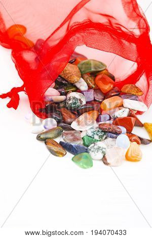 a collection of semiprecious natural stones close up