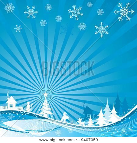Christmas winter background, vector illustration