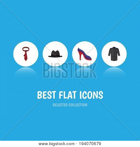 Flat Icon Clothes Set Of Uniform, Panama, Cravat And Other Vector Objects. Also Includes Uniform, Kimono, Panama Elements.