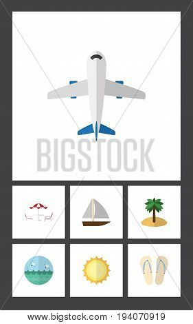 Flat Icon Summer Set Of Beach Sandals , Coconut, Aircraft Vector Objects. Also Includes Beach, Coconut, Sun Elements.