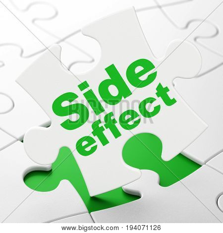 Healthcare concept: Side Effect on White puzzle pieces background, 3D rendering