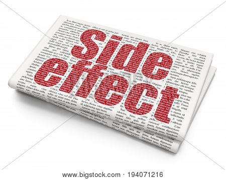 Health concept: Pixelated red text Side Effect on Newspaper background, 3D rendering
