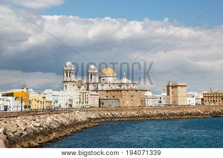 Panoramic view of the Cathedral Campo del Sur in Cadiz Spain