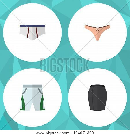 Flat Icon Dress Set Of Stylish Apparel, Lingerie, Trunks Cloth And Other Vector Objects. Also Includes Shorts, Cloth, Underclothes Elements.