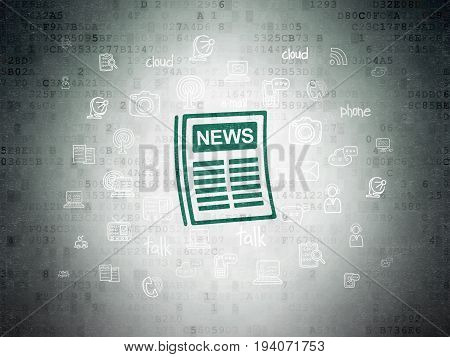 News concept: Painted green Newspaper icon on Digital Data Paper background with  Hand Drawn News Icons