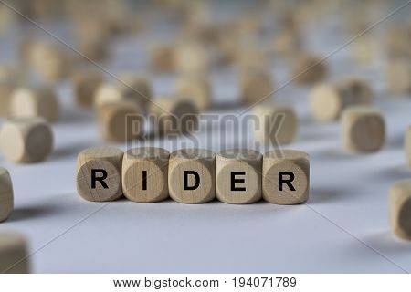 Rider - Cube With Letters, Sign With Wooden Cubes