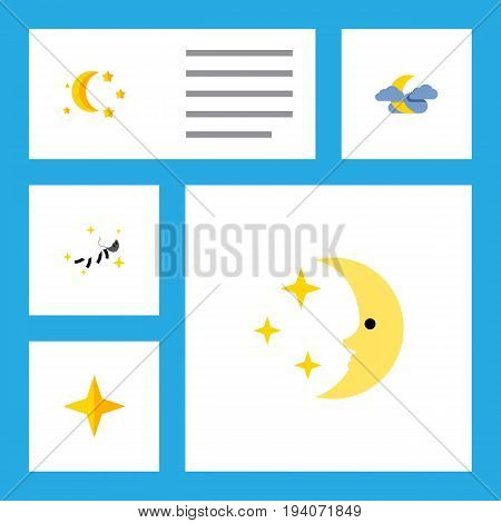 Flat Icon Night Set Of Nighttime, Midnight, Night And Other Vector Objects. Also Includes Nighttime, Cloud, Moon Elements.