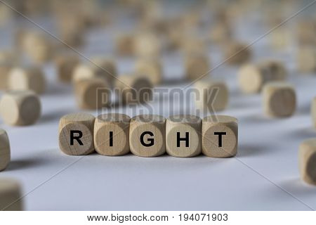 Right - Cube With Letters, Sign With Wooden Cubes