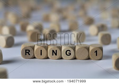 Ring 1 - Cube With Letters, Sign With Wooden Cubes