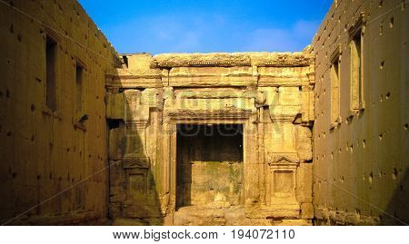Interior of Destroyed temple of Baal or Bel in Palmyra Syria.