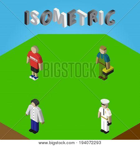 Isometric Human Set Of Seaman, Guy, Plumber And Other Vector Objects. Also Includes Sailor, Male, Worker Elements.
