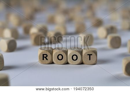 Root - Cube With Letters, Sign With Wooden Cubes