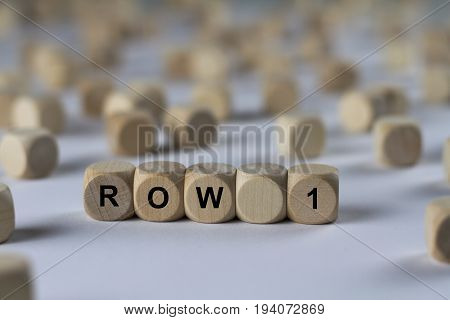 Row 1 - Cube With Letters, Sign With Wooden Cubes