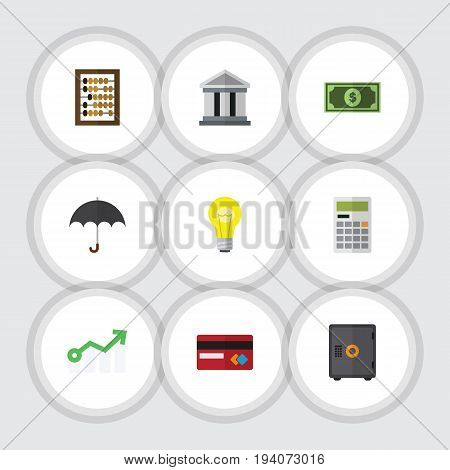 Flat Icon Finance Set Of Greenback, Bank, Bubl And Other Vector Objects. Also Includes Architecture, Diagram, Mastercard Elements.