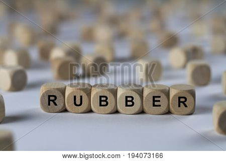 Rubber - Cube With Letters, Sign With Wooden Cubes