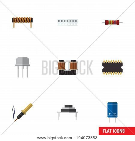 Flat Icon Electronics Set Of Destination, Resist, Resistance And Other Vector Objects. Also Includes Bobbin, Iron, Electronics Elements.