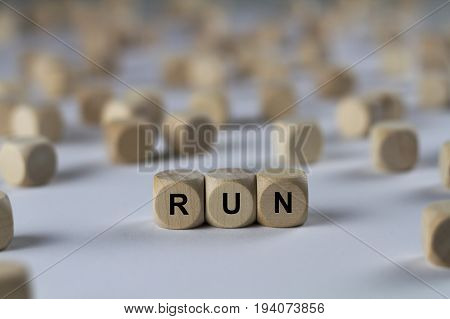 Run - Cube With Letters, Sign With Wooden Cubes