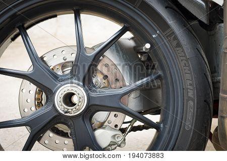 Saint-Petersburg, Russia - July 06, 2017: Part of the wheel of Ducati Superbike 999s Testastretta in Sankt-Petersburg at july 06 2017