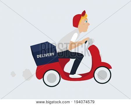 Delivery man riding motorcycle and work on restaurant with food delivery. Vector illustration eps10 graphic. -stock vector