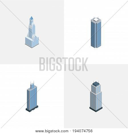 Isometric Building Set Of Cityscape, Tower, Business Center And Other Vector Objects. Also Includes Tower, Cityscape, Business Elements.