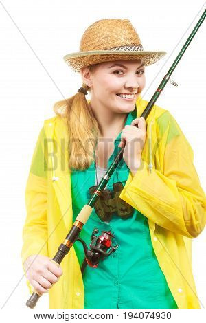 Fishery spinning equipment angling sport and activity concept. Woman with fishing rod.
