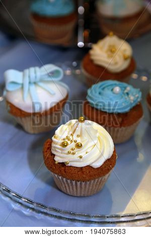 Birthday cupcakes in blue tones on a glass transparent plate