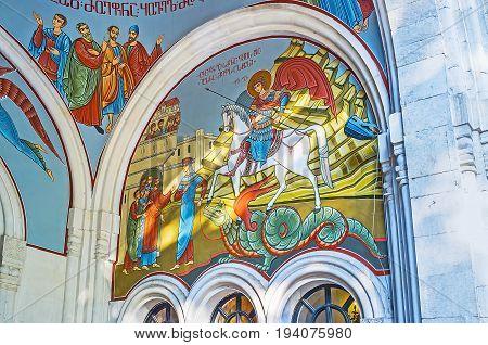 The Walls Of Kashveti Church In Tbilisi