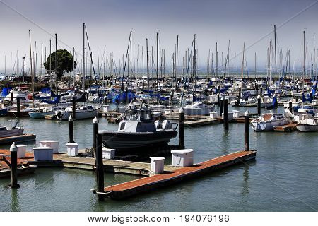 California yacht harbor with the San Francisco