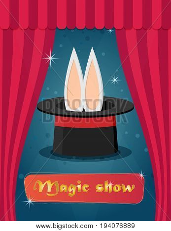 Magic show. Flat style design - vector