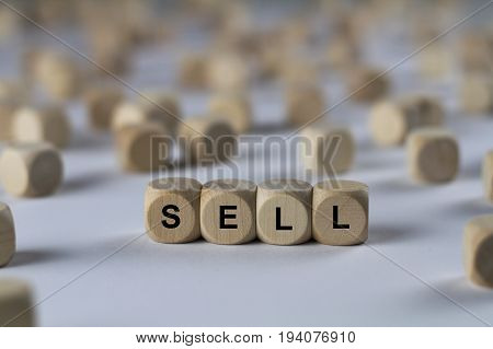 Sell - Cube With Letters, Sign With Wooden Cubes