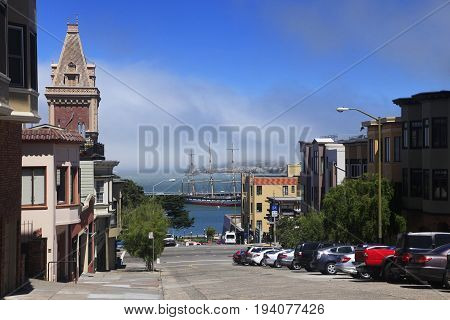 San Francisco California USA - September 16 2013 : The Bay and Alcatraz Island view from North point Street