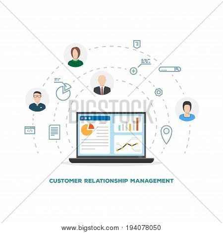 Customer relationship management laptop concept. Financial information with customers avatars. Online and global CRM. Flat style line modern vector. Circles with icons support clients and crm.