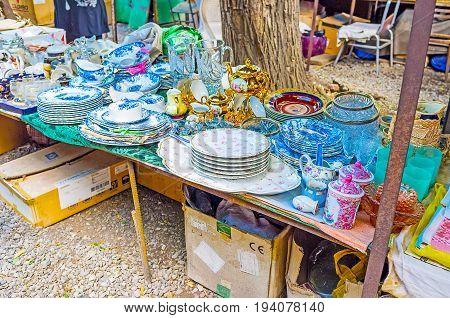 The Vintage Dishware In Tbilisi Flea Market