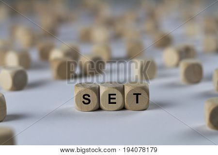 Set - Cube With Letters, Sign With Wooden Cubes