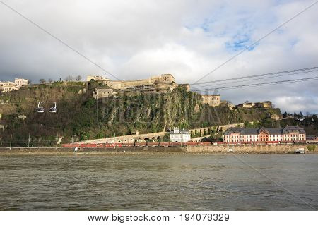 Fortress Ehrenbreitstein as seen from Koblenz a city situated on both banks of the Rhine at its confluence with the Moselle Germany