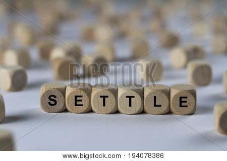 Settle - Cube With Letters, Sign With Wooden Cubes