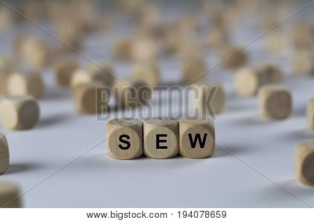 Sew - Cube With Letters, Sign With Wooden Cubes