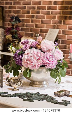 Hydrangeas. A Beautiful Bouquet On The Table.