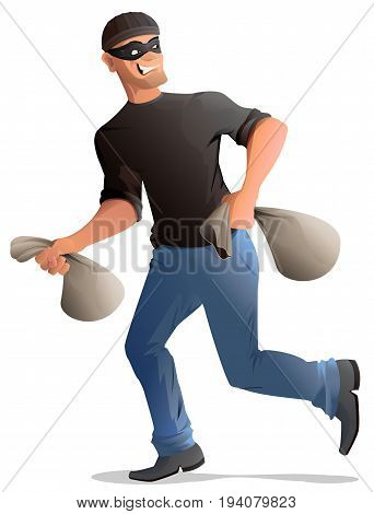 Man robber in mask runs with bags. Isolated on white vector illustration
