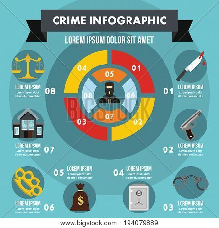 Crime infographic banner concept. Flat illustration of crime infographic vector poster concept for web